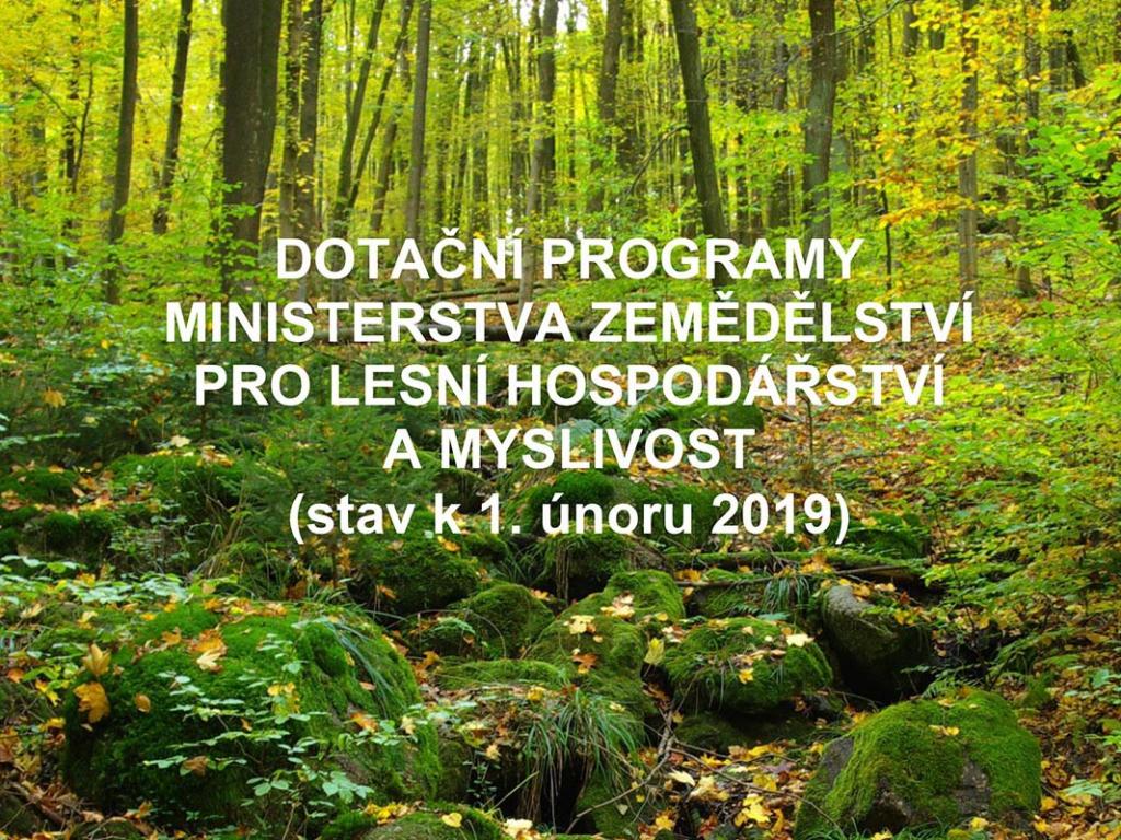 Aktuální informace o finanční podpoře lesního hospodářství a myslivosti
